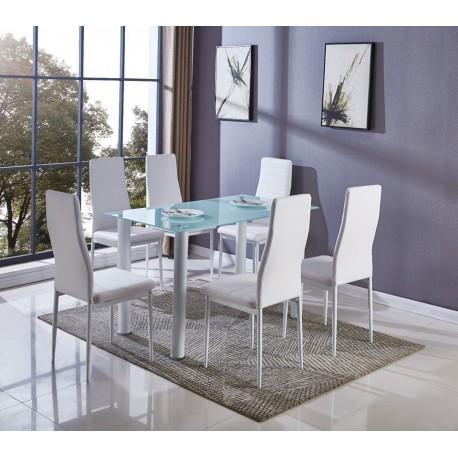 Mesa comedor cristal 6 sillas